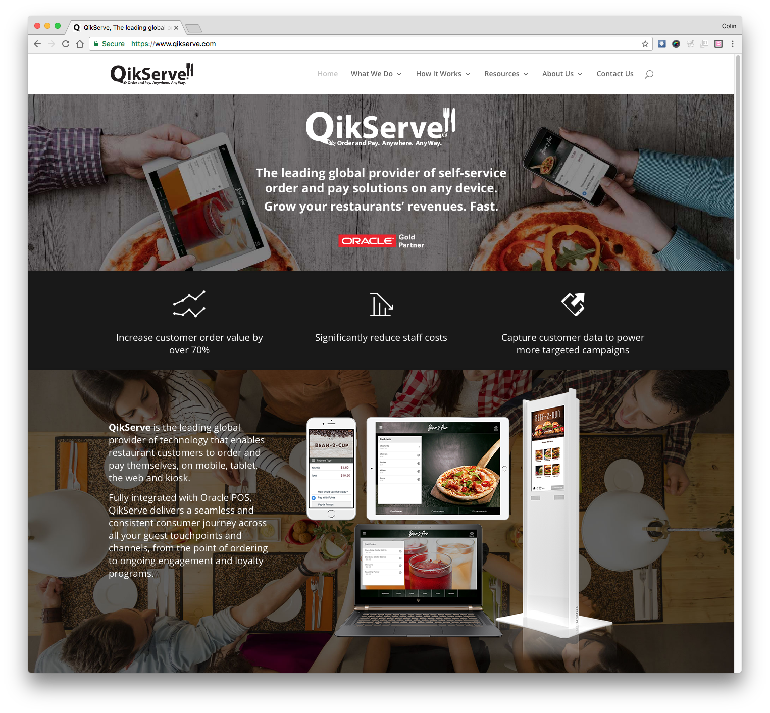 QikServe Website developed by Colin Usher