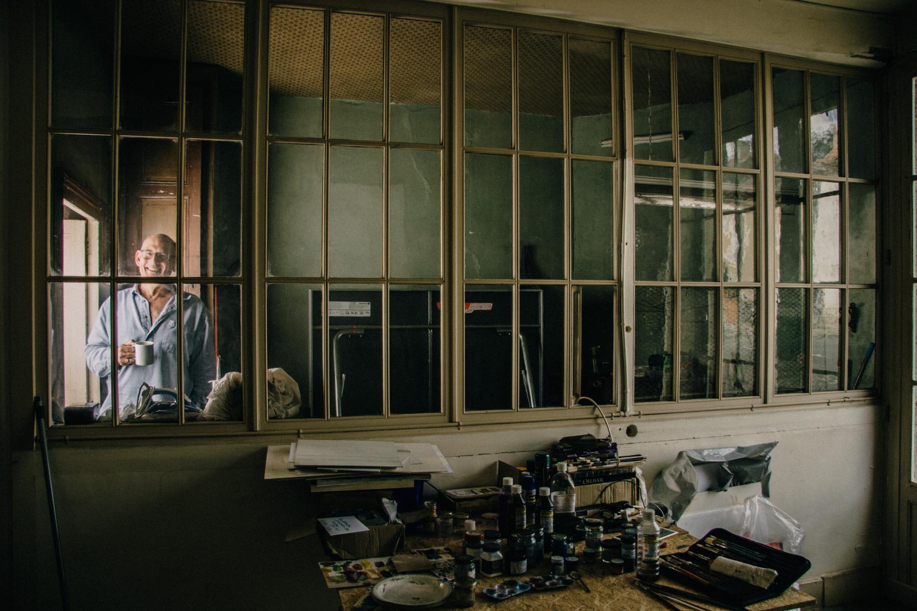 Karl Stern in the garage studio at Studio Faire